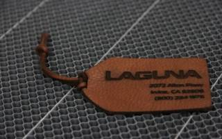 Laser cut and etched leather tag