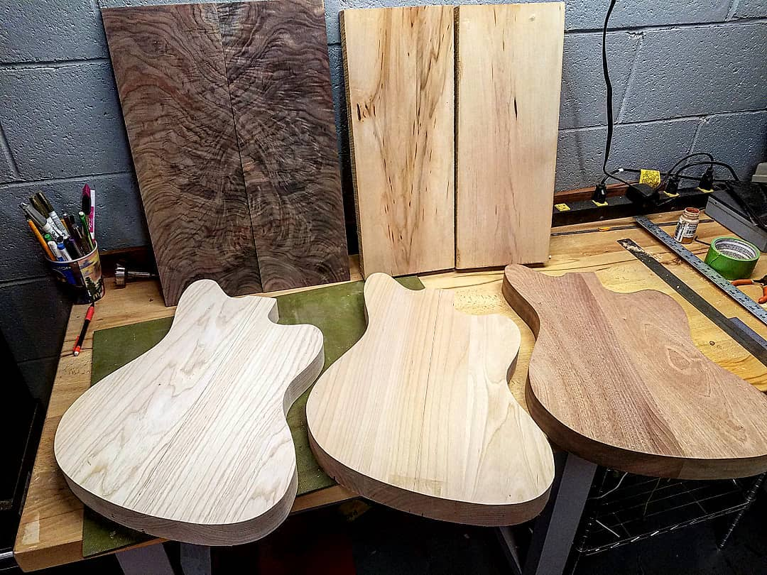 Wooden Custom Guitars made with a laguna bandsaw