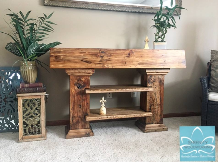 Custom beam console wood handcrafted furniture piece
