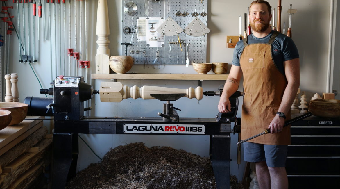 Carter Whittier with his woodturning machine from laguna tools revo 1836